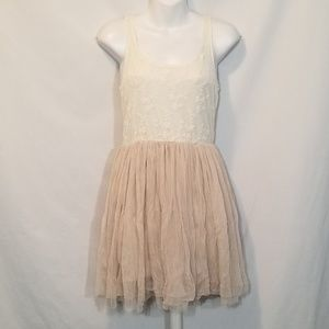 ...LOST by BUCKLE Cream Lace Tulle Tank Dress Sz M